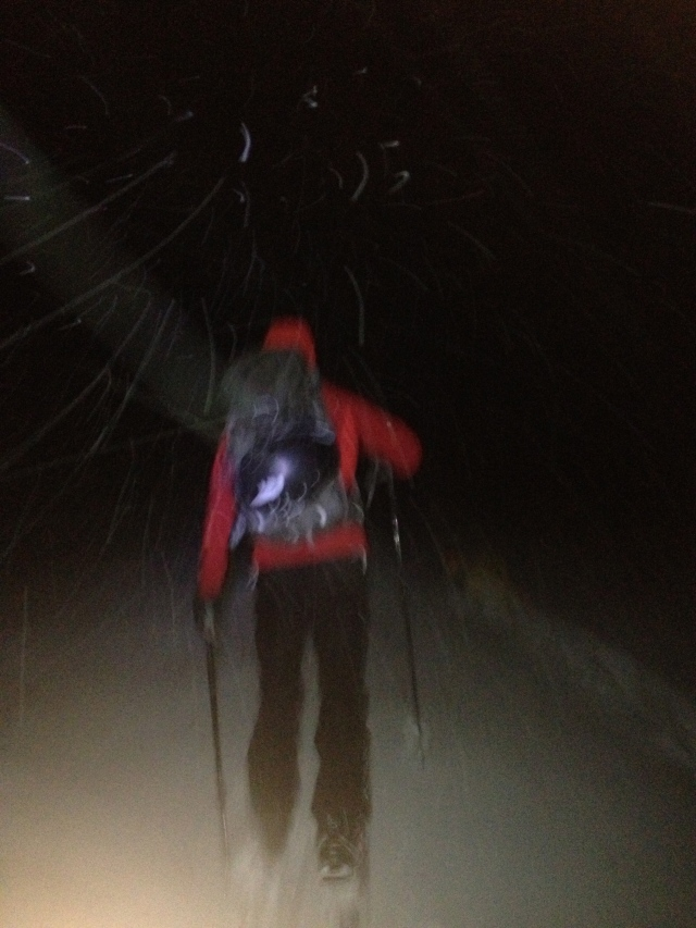 pre-dawn ski departure
