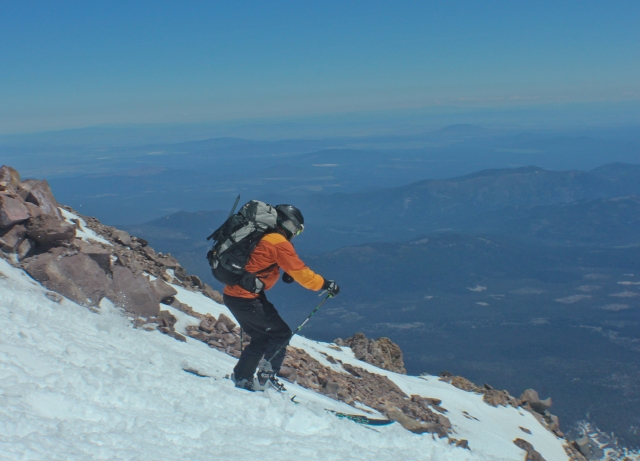 skiing off shasta summit