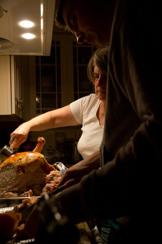 Mom and Jon Cut the Bird
