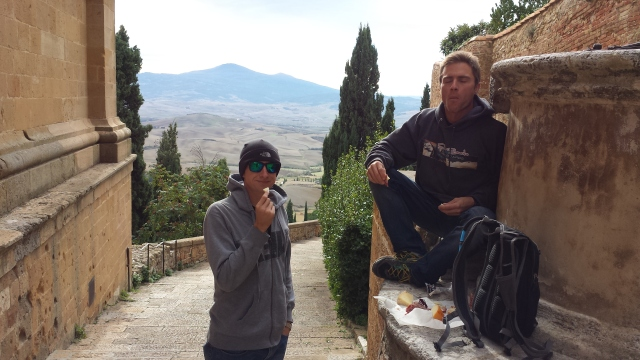 My brother, Jon, and I enjoying Pecorino and the best salami we've ever had, in Pienza, Tuscano.