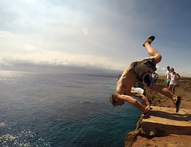 That's me doing something dumb. Trying a new trick – a 40-foot handstand front flip - off the southernmost point in the U.S.